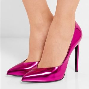 Metallic Pink Saint Laurent Heels